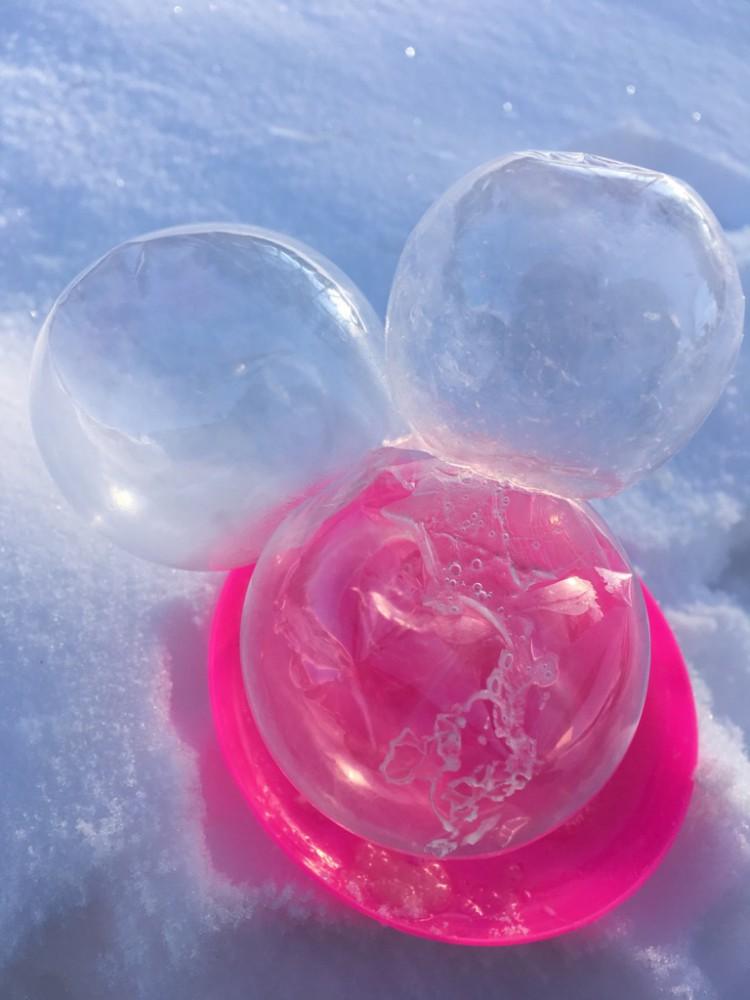 最強寒波の、その後 (凍ったシャボン玉を作ってみた)