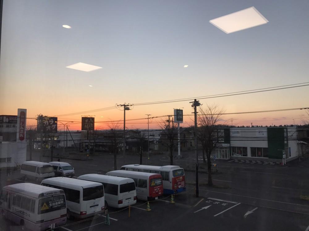 冬の朝焼け。ジムの窓から♪